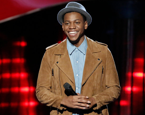 Chris Blue listens to coaches' feedback following his blind audition on The Voice. (NBC Photo)