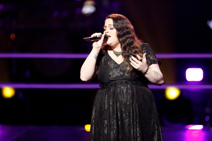 Enid Ortiz performs during the battle round on The Voice Season 12 (NBC Photo)