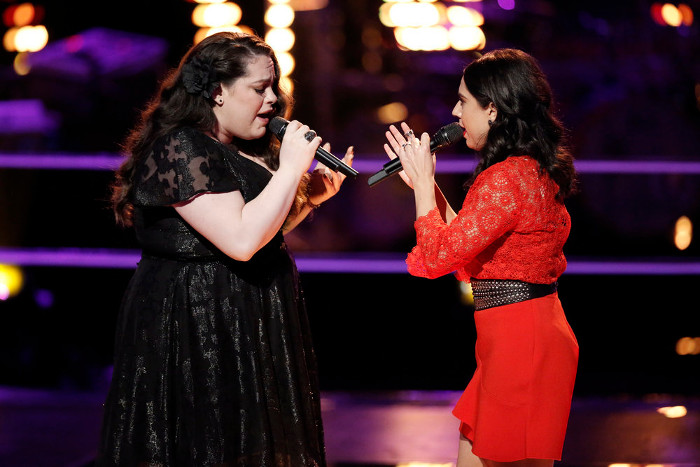 Enid Ortiz and Valerie Ponzio perform during the battle round on The Voice Season 12. (NBC Photo)