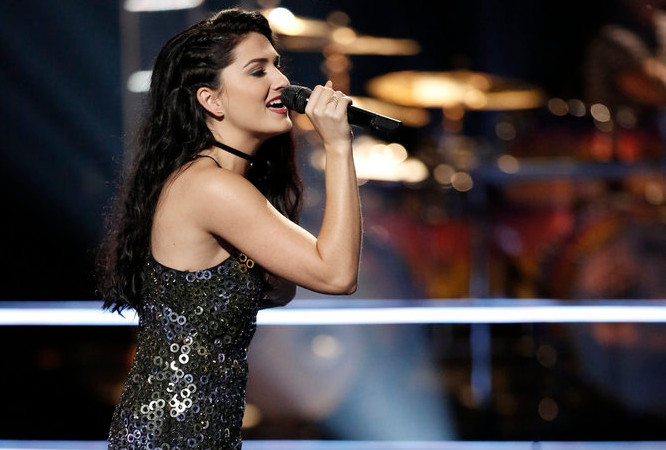 Jozy Bernadette performs during the battle round on The Voice Season 12 (NBC Photo)