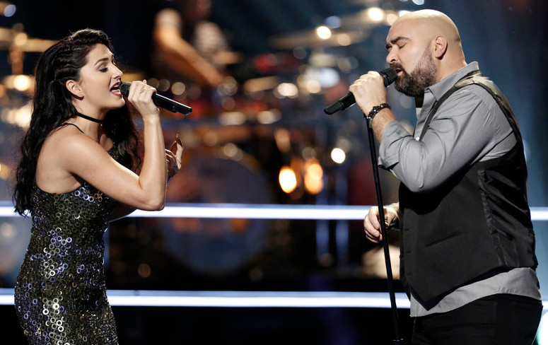 Jozy Bernadette and Troy Ramey perform during the battle round on The Voice Season 12. (NBC Photo)