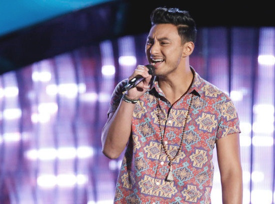 Julien Martinez performs during The Voice Season 12 blind auditions. (NBC Photo)