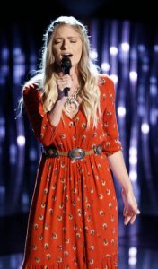 "Lauren Duski performs ""You Were Meant for Me"" during the blind auditions on The Voice. (NBC Photo)"