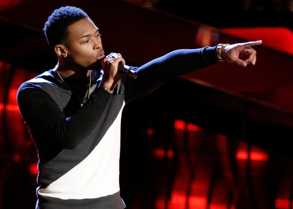 Malik Davage performs during the blind auditions on The Voice. (NBC Photo)