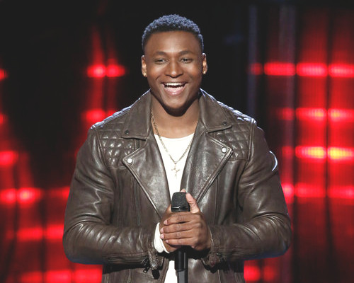 RJ Collins listens to feedback from the coaches following his blind audition on The Voice (NBC Photo)
