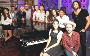 Members of Team Adam on Season 12 of The Voice inlcude (from left) Sheena Brook, Kawan Debose, Adam Levine, Jesse Larson, Gaby Borromeo, Mark Isaiah, Julien Martinez, Nala Price, Josh West, Hanna Eyre, Malik Davage, Taylor Alexander, Johnny Hayes (NBC Photo)