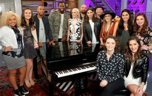 Members of Team Gwen Stefani on Season 12 of The Voice include (from left) Aaliyah Rose, Caroline Sky, Brandon Royal, JChosen, Gwen Stefani, Troy Ramey, Jonny Gates, Kenny P., Stephanie Rice, Jozy Bernadette and Savannah Leighton. Seated in front are Sammie Zonana and Davina Leone. (NBC Photo)