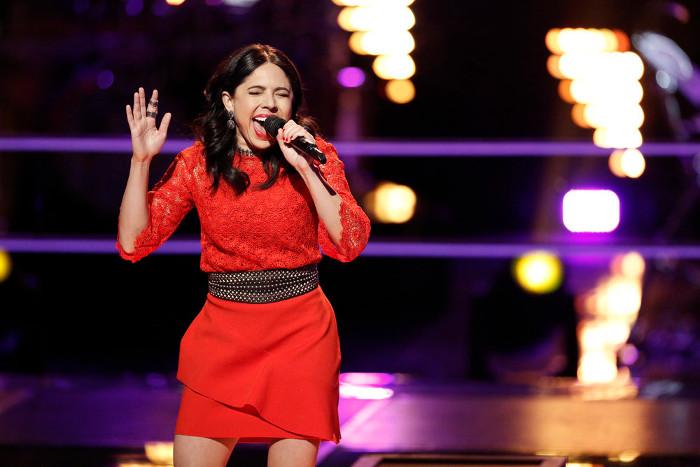 Valerie Ponzio performs during the battle round on The Voice Season 12 (NBC Photo)