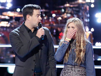 Brennley Brown reacts to being named winner of her knockout round on The Voice Season 12 (NBC Photo)