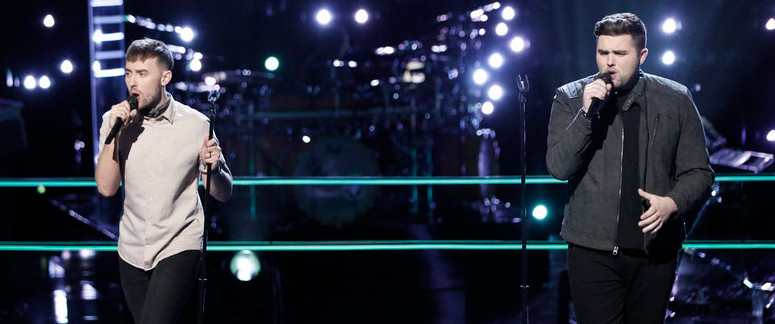 Hunter Plake (left) and Jack Cassidy perform during the battle round on The Voice. (NBC Photo)