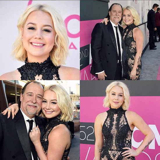 With her husband serving in the military, RaeLynn attended the ACM Awards this weekend with her father and posted this collection of photos to her Instagram account.