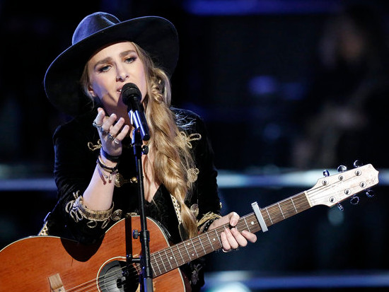 Stephanie Rice performs during the knockout round on The Voice. (NBC Photo)