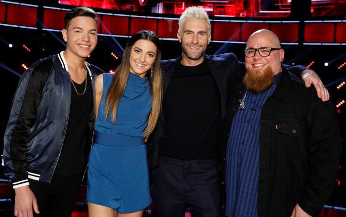 Adam Levine with Mark Isaiah, Lilli Passero, and Jesse Larson (NBC Photo)