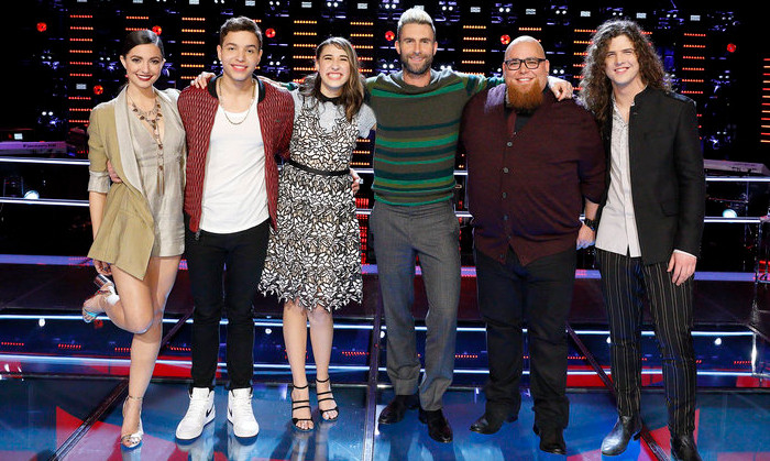 Members of Team Adam in the live playoffs include Lilli Passero, Mark Isaiah, Hanna Eyre, Jesse Larson and Josh West. (NBC Photo)