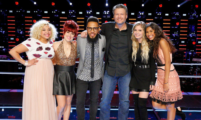 Members of Team Blake in the live playoffs include Aaliyah Rose, Casi Joy, TSoul, Lauren Duski and Aliyah Moulden. (NBC Photo)