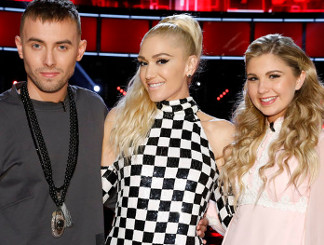 Gwen Stefanie with Hunter Plake and Brennley Brown of The Voice Season 12 (NBC Photo)