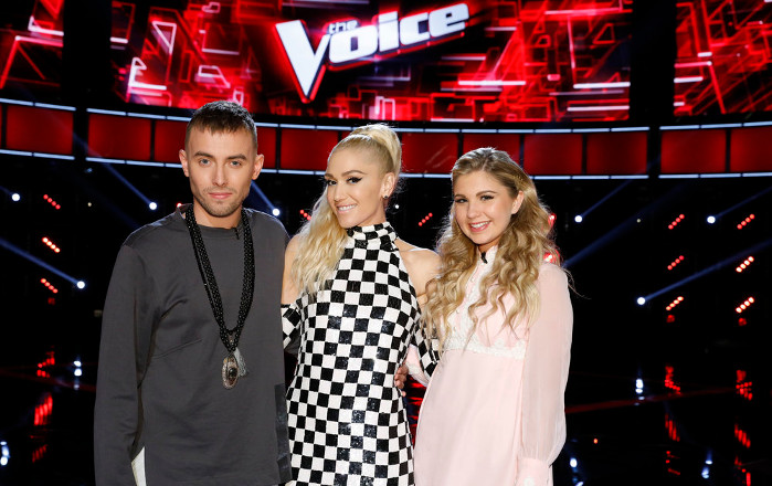 Gwen Stefani with her remaining singers on The Voice Season 12, Hunter Plake and Brennley Brown. (NBC Photo)