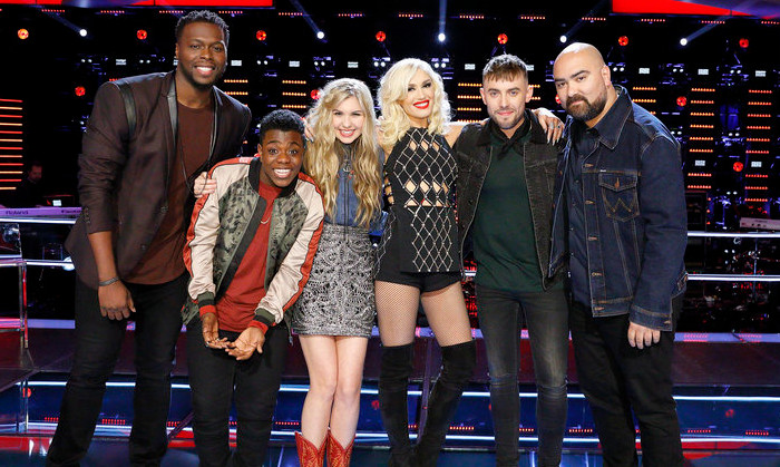 Members of Team Gwen in the live playoffs include J Chosen, Quizz Swanigan, Brennley Brown, Hunter Plake and Troy Ramey. (NBC Photo)