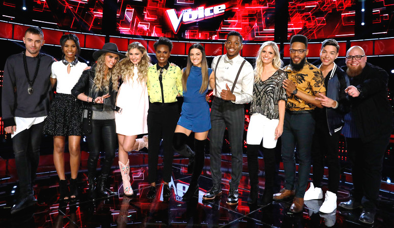 The Top 11 on Season 12 of The Voice includes, from left, Hunter Plake, Aliyah Moulden, Stephanie Rice, Brennley Brown, Vanessa Ferguson, Lilli Passero, Chris Blue, Lauren Duski, TSoul, Mark Isaiah and Jesse Larson. (NBC Photo)