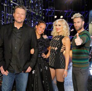 Voice coaches Blake Shelton, Alicia Keys, Gwen Stefani and Adam Levine (NBC Photo)