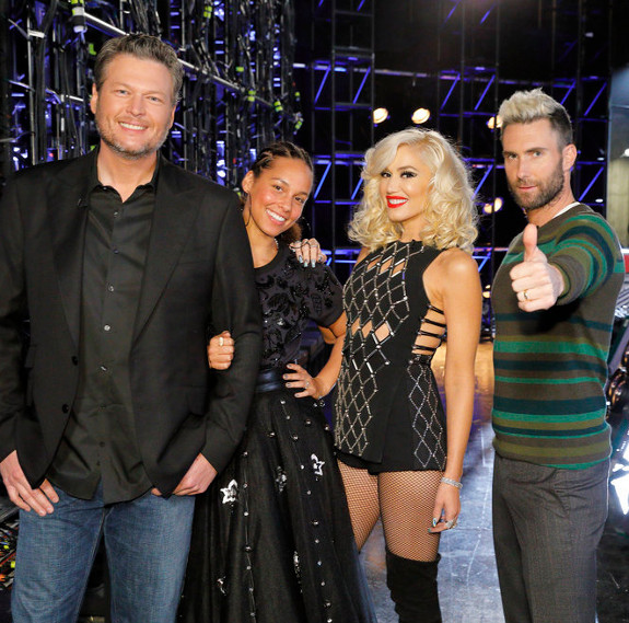 Voice coaches Blake Shelton, Alicia Keys, Gwen Stefani and Adam Levine (NBC Photo)