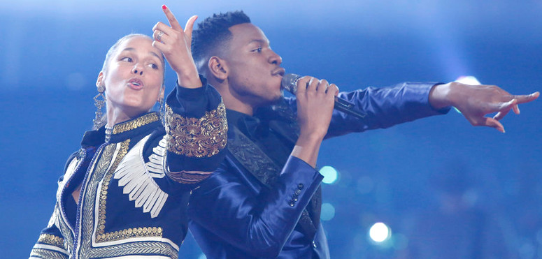 Alicia Keys and Chris Blue celebrate his win on The Voice Tuesday night. (NBC Photo)