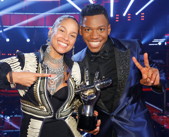 Alicia Keys and Chris Blue after he was announced winner of Season 12 of The Voice Tuesday night. (NBC Photo)