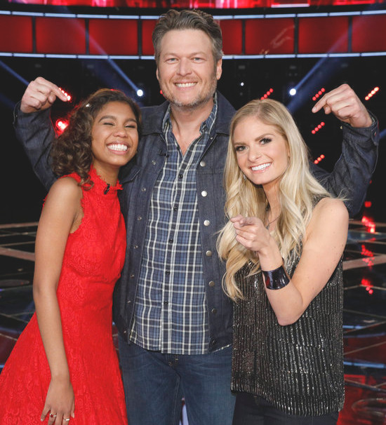 Blake Shelton with Aliyah Moulden and Lauren Duski of The Voice Season 12 (NBC Photo)