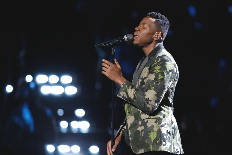 Chris Blue performs 'Everybody Hurts' on The Voice Season 12 finale Tuesday night. (NBC Photo)