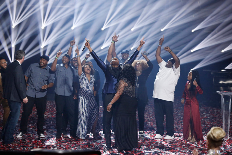 Chris Blue reacts to being named Season 12 winner of The Voice. (NBC Photo)