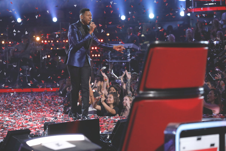 Chris Blue performs after being named winner of The Voice. (NBC Photo)