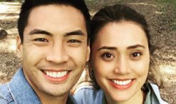 "Dia Frampton with Yoshi Sudarso, her co-star in the music video for ""Dead Man."""