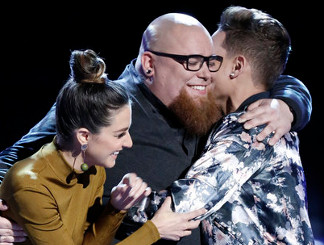 Jesse Larson is congratulated on advancing on The Voice. (NBC Photo)