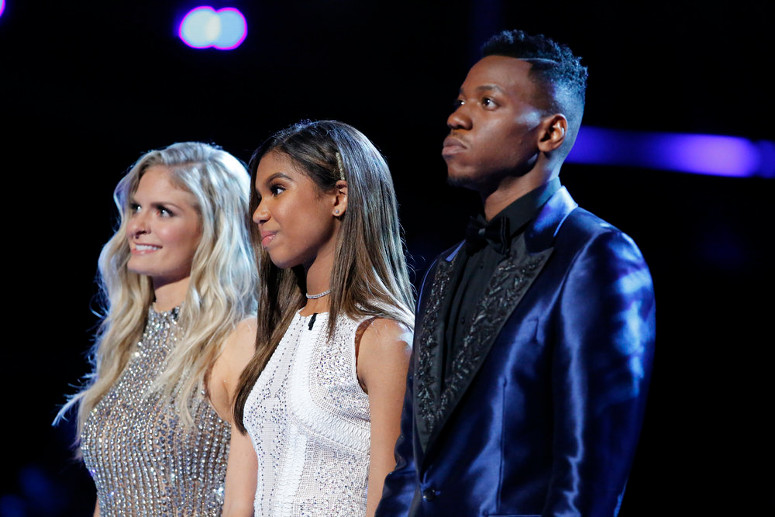 Lauren Duski, Aliyah Moulden and Chris Blue await results on The Voice. Aliyah finished third. (NBC Photo)