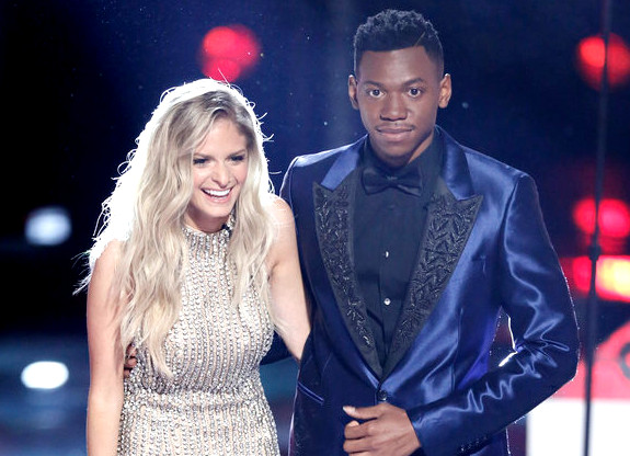 Lauren Duski and Chris Blue await results on The Voice Tuesday night. (NBC Photo)