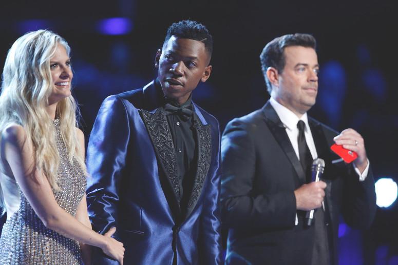 Lauren Duski and Chris Blue await results on The Voice. (NBC Photo)