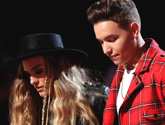 Mark Isaiah and Stephanie Rice await results on The Voice. (NBC Photo)