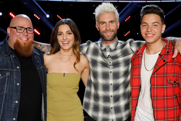 The remaining members of Team Adam Levine include Jesse Larson, Lilli Passero and Mark Isaiah. (NBC Photo)