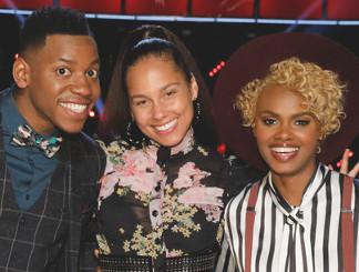 Chris Blue, coach Alicia Keys and Vanessa Ferguson of The Voice Season 12 (NBC Photo)