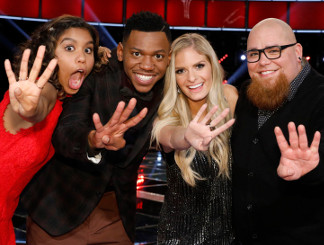 The Voice Top 4, Aliyah Moulden, Chris Blue, Lauren Duski and Jesse Larson (NBC Photo)
