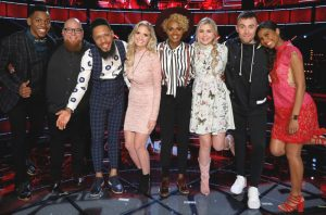 The Voice Top 8 includes (from left) Chris Blue, Jesse Larson, TSoul, Lauren Duski, Vanessa Ferguson, Brennley Brown, Hunter Plake and Aliyah Moulden. (NBC Photo)