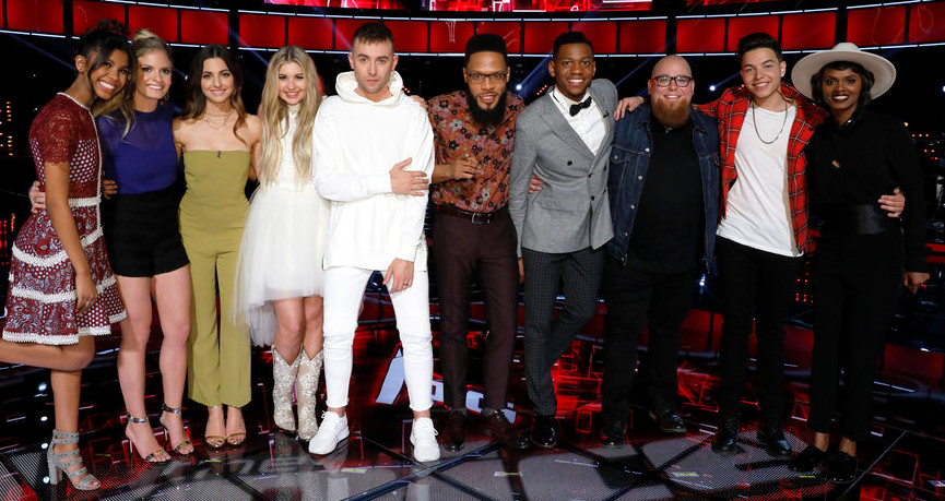 The Voice Top 10 includes, from left, Aliyah Moulden, Lauren Duski, Lilli Passero, Brennley Brown, Hunter Plake, TSoul, Chris Blue, Jesse Larson, Mark Isaiah, Vanessa Ferguson (NBC Photo)