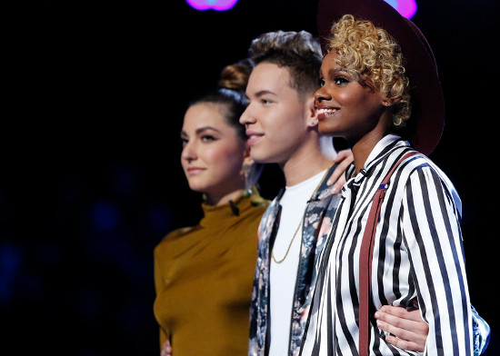 Lilli Passsero, Mark Isaiah and Vanessa Ferguson await their fate on The Voice Tuesday night. (NBC Photo)