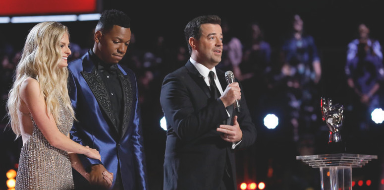 Carson Daly with Lauren Duski and Chris Blue as the show's Season 12 manipulations were about to reach their conclusion. (NBC Photo)