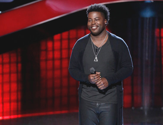 Chris Weaver listens to the coaches' feedback after turning four chairs on the Season 13 premiere of The Voice. (NBC Photo)