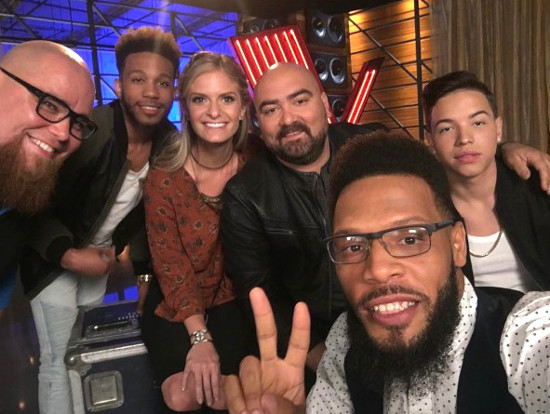 Ignatious Carmouche, second from left, meets Jesse Larson, Lauren Duski, Troy Ramey, TSoul and Mark Isaiah during a visit to The Voice Season 12 filming.