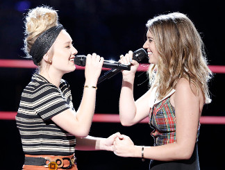Addison Agen and Karli Webster during their battle round match on The Voice. (NBC Photo)