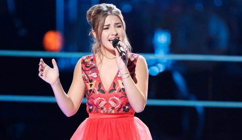 Alexandra Joyce of The Voice Season 13 performs during the battle round. (NBC Photo)