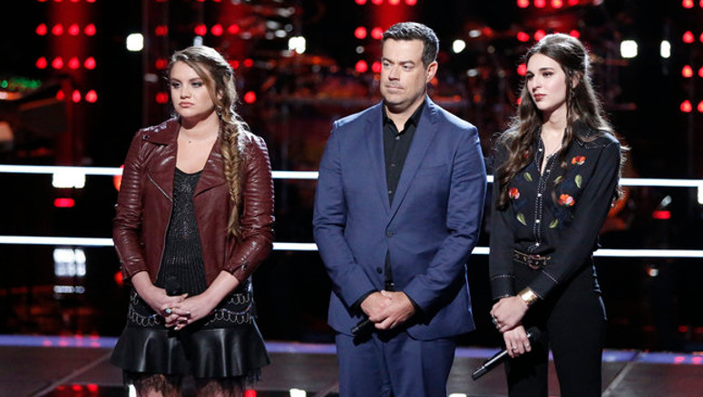 Anna Catherine DeHart and Kristi Hoopes await the outcome of their Team Blake Shelton battle round match with Carson Daly on The Voice. (NBC Photo)