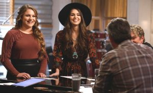 Anna Catherine DeHart and Kristi Hoopes review battle round strategy with Blake Shelton on The Voice. (NBC Photo)